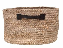 wicker basket with leather handles storage basket made of hemp with leather handles 40x25cm