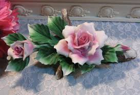 vintage capodimonte pink roses on branch centerpiece