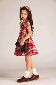 scotland plaids short sleeve dresses kids girls dress 100 cotton