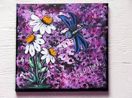 original home decor rustic wall art hand painted dragonfly painting white daisy