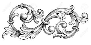 vintage baroque victorian frame border monogram floral ornament