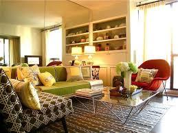 retro livingroom green and orange living room decor