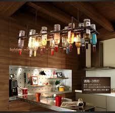 eclairage bar cuisine recyclé rétro suspendu vin bouteille pendentif les lumière avec