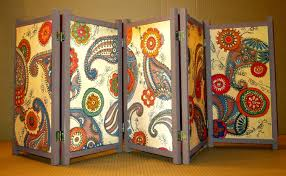 appealing folding screens room divider with purple accentuate