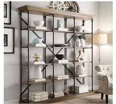 wood and wood and iron bookshelf dumbfound industrial style brown home