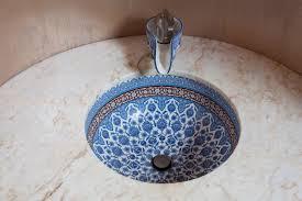 unique bathroom decoration design blue sink pattern faucet ideas
