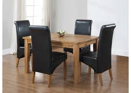 Dining Table And 4 Chairs Furniture Square Oak Dining Room Table And 4 Black Leather Chairs