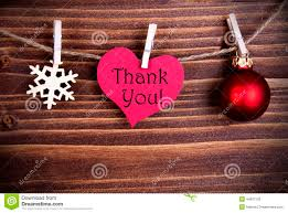 thank you on a heart with christmas decoration stock image image