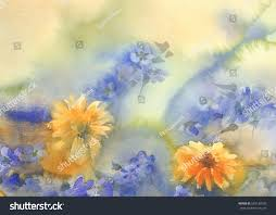 yellow blue summer flowers watercolor stock illustration 549130189