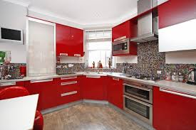 kitchen red black tiles red black and white art red white and