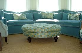 furniture 13 charming blue polka dots round ottoman for living