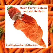 knitting pattern baby carrot cocoon and hat halloween