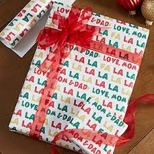 personalized gift wrapping paper personalized christmas wrapping paper fa la la