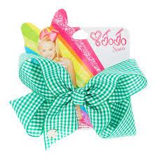 back to school hair bows jojo siwa green gingham print back to school hair bow s