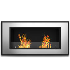 47 inch ventless built in recessed bio ethanol wall mounted fireplace