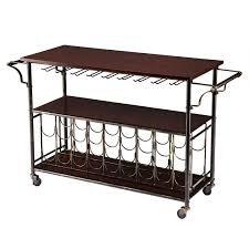 Kitchen Islands And Carts Wood Top Kitchen Island Wine Rack Cart With Storage Shelf