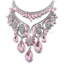 pink collar necklace images Fsn239 women 39 s bling diamond pendant necklace exquisite bib jpg