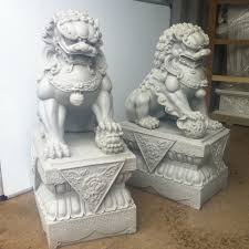 lion dog statue large foo dogs statues granite fu temple lions ebay