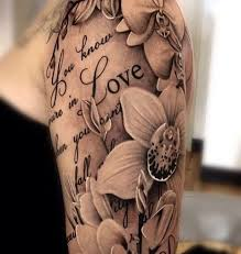 Flower And Love Quotes - flowers and love quote sleeve tattoo venice tattoo art designs