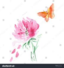 butterfly flower watercolor drawing vector art stock vector