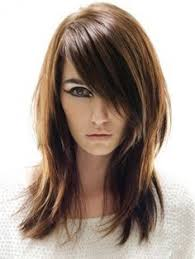 coupe de cheveux effil de cheveux dégradé effilé avec frange sur le coté