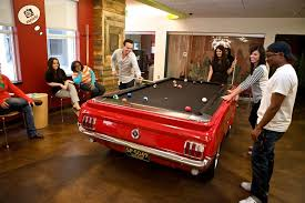 Mustang Pool Table Team Members Take A Break To Quicken Loans Office Photo