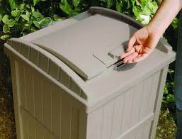 resin wicker trash hideaway outdoor can modern patio u0026 outdoor