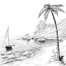sea beach boat and palm tree vector sketch u2014 stock vector