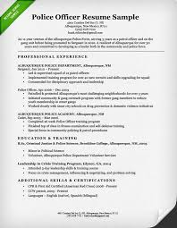 Resume Example Templates by Police Officer Resume Sample U0026 Writing Guide Resume Genius
