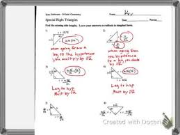 special right triangles 30 60 90 worksheet answers worksheets