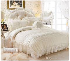 Pure Cotton Duvet Covers Wholesale Fancy Pure White Lace Princess 100 Cotton Bedding Set