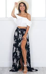 maxi skirt breath of fresh air maxi skirt in navy floral showpo