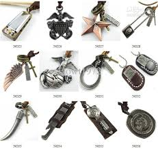 men necklace pendants images Punk vintage mens charm choker genuine leather chain pendant jpg