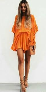 orange dress orange dress with brown accessories ladystyle