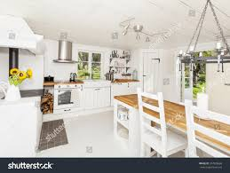 interior kitchen countryside white wooden floor stock photo interior of a kitchen in the countryside with white wooden floor and ceiling