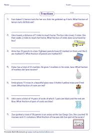 math problem fractions fraction word problems worksheets