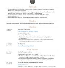research intern equity research intern resume sles research associate