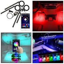 app controlled car lights 4x 12 led car atmosphere rgb phone app music control strip lights