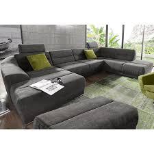 canapé panoramique convertible tissu texturé angle fixe à droite ou