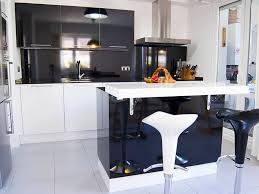Kitchen With Bar Table - white bar stools and white cabinets kitchen high tech style