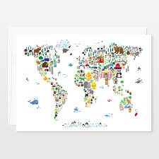 Flat Map Of The World Flat Cards By Customizable Nursery Artwork Boomboomprints
