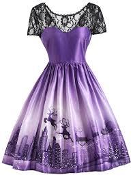 christmas cocktails vintage christmas elk lace yoke vintage dress in purple l sammydress com