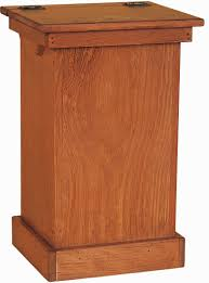 amish pine lift trash bin cabinet