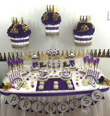 purple and gold prince princess candy buffet diaper cake