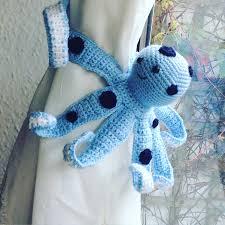 Nursery Curtain Tie Backs by Crochet Octopus Tie Back Single Amigurumi Octopus Nursery