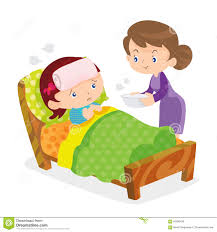 cute girls take care of sick mother stock vector image 65586439