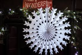pack of 12 paper snowflake christmas hanging decorations paper