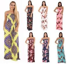 summer maxi dresses womens plain printed sheering bandeau summer maxi