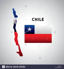 Chile Santiago Flag Chile Country Map With Colors Of The Flag Colorful Design Vector