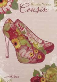 gold female cousin birthday card floral glitter high heels 7 5